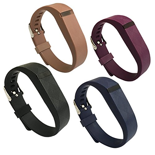 4PCS Fitbit Flex Band,Silicone Replacement Wristband for Fitbit Flex Bracelet Sport Bands with Metal Watch Band Buckle Large Small