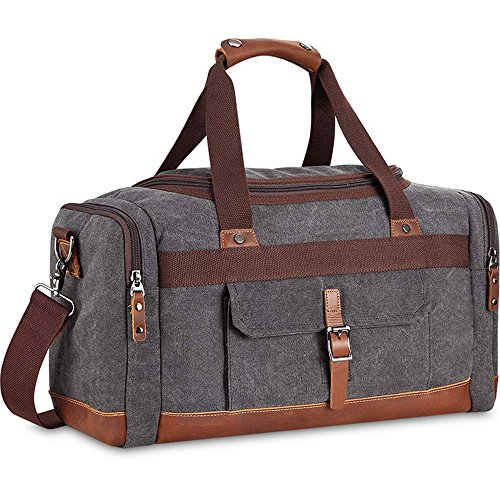 "BLUBOON Overnight Bag Canvas Genuine Leather 21.2""/9.45""/12.6"" Vintage Travel Duffel Bags (Big Size Grey)"