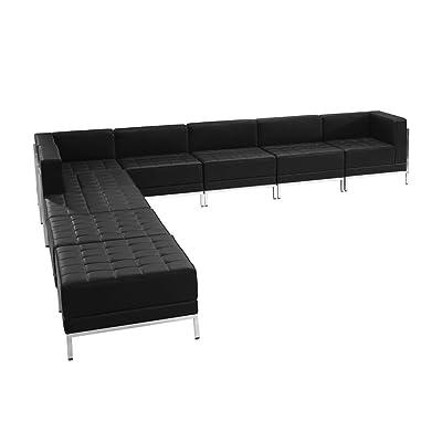 Flash Furniture Hercules Imagination 9-Piece Reception Configuration in Black