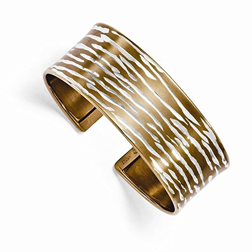 Leslies Sterling Silver with Chocolate Rhodium Dia-Cut Cuff Bangle by viStar