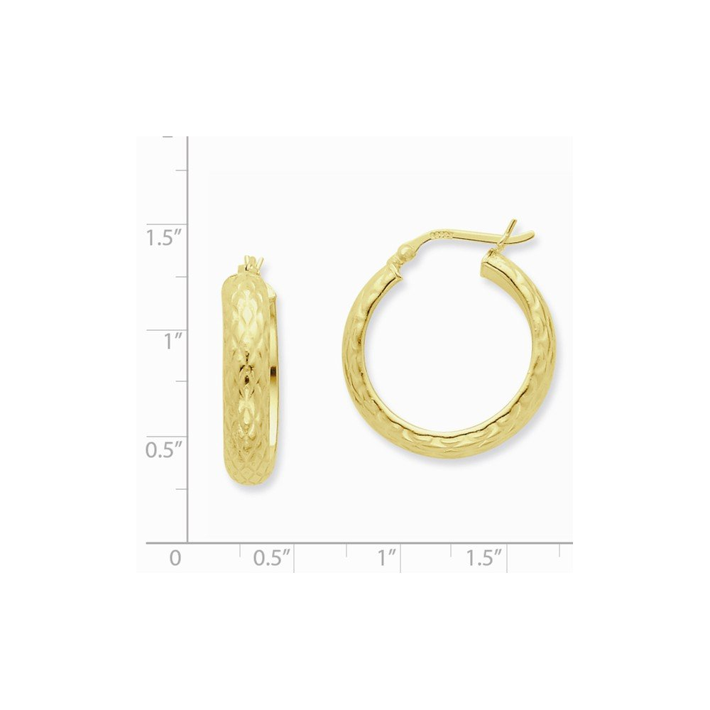925 Sterling Silver Gold-flashed Patterned 25mm Hoop Earrings