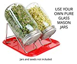 Sprouting Kit -- Pure Stainless Steel Stands and Lids with Tray -- Use Your Own Pure Glass Mason Jars -- Dishwasher Safe -- Pure Convenience Space Saver by Lotus & Sky