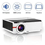 5000 LED Luminous High Resolution HD LCD Home Video Projector Max 200' Display, HDMI,USB,Aux Audio,VGA,AV Multimedia LED Proyector for Computer Roku Xbox Wii PS3/4 Outdoor Movies Entertainment