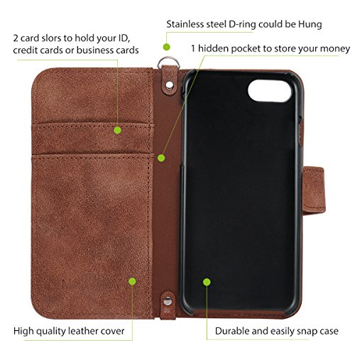 iPhone 7 Case, iPhone 8 Wallet Case Flip Case, Authentic Harris Tweed Retro Handmade Fabrics and Synthetic Leather Purse Phone Case Full Protective Cover Stand Function Flip Folio Book Case Shell with