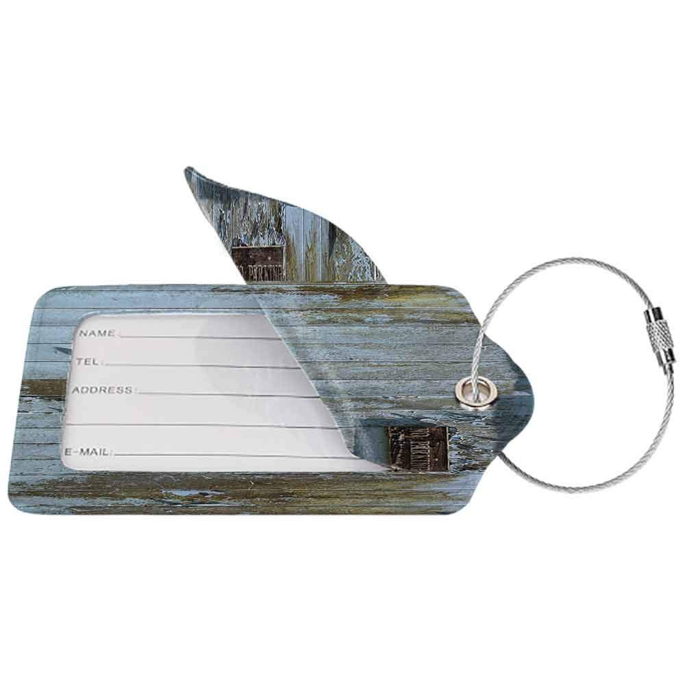 Waterproof luggage tag Industrial Decor Collection Grungy Old Rotting Garage Door with No Parking Sign Rusty Locked Aged Wood Image Soft to the touch Blue Khaki W2.7 x L4.6