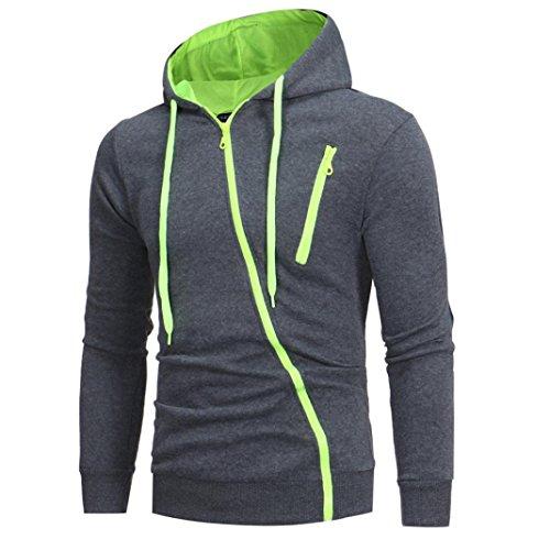 Price comparison product image Winter Mens' Sweatshirt Long Sleeve Tops Zip up Sport Jacket Coat Outwear with Hood (Green,  L)