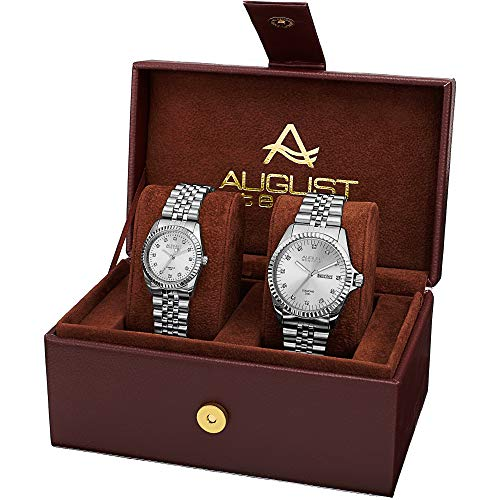 - August Steiner AS8201 Matching His and Hers Glamorous Watch Gift Set- Stainless Steel Bracelet - Perfect Gift (Silver & Silver)