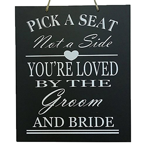 JennyGems Wedding Signs - Wedding Decor Sign Pick A Seat Not A Side You're Loved by The Groom and Bride - Wedding Reception & Ceremony Decoration Chalk Style Sign - Wedding Directional Decorations]()