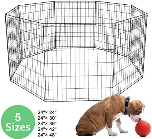 XXFBag 24 30 36 42 48 Inch 8 Panel Pet Playpen Dog Playpen,Metal Tube Portable Puppy Playpen