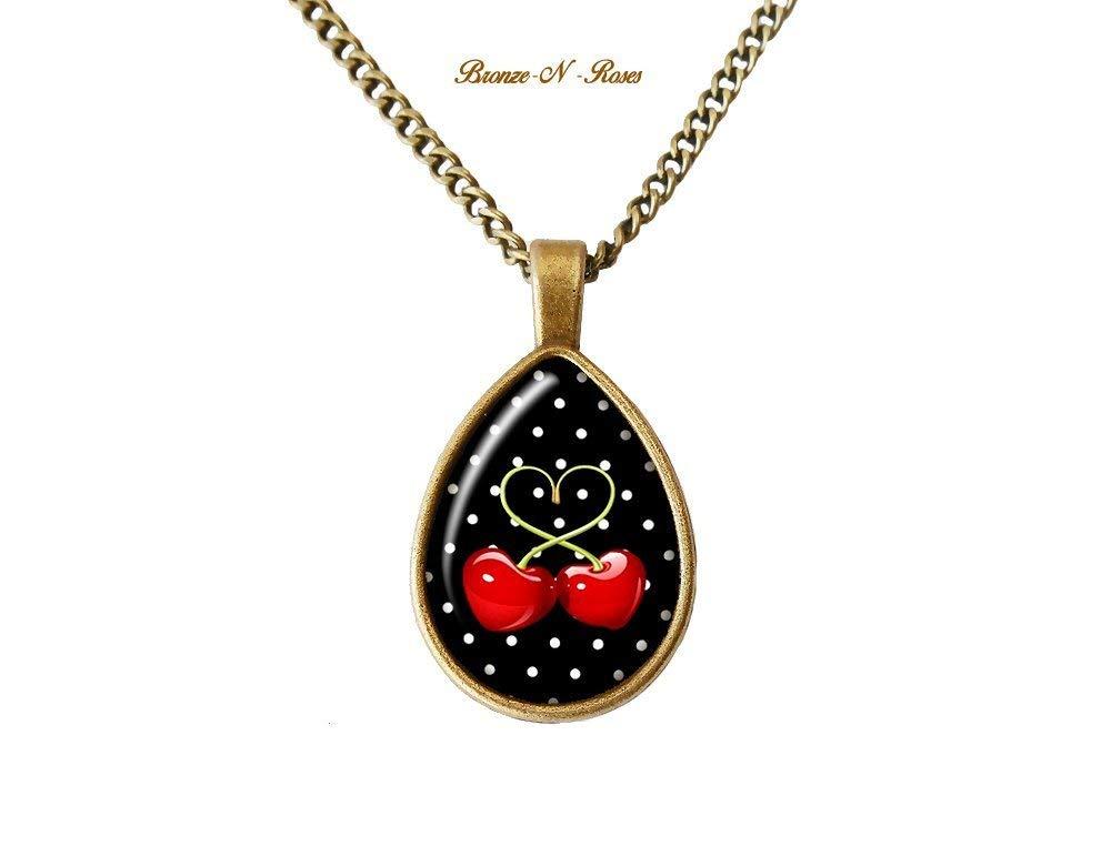 Collier goutte cerises rouges noir bronze pois bronze-n-roses