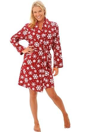 CLOSED Del Rossa Women's Flannel Robe, Soft Cotton Bathrobe, Medium Red Snowflakes (A0711P34MD)