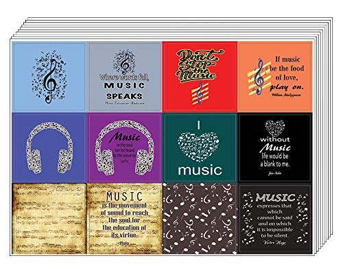 (Creanoso Music Theme Inspirational Quotes Stickers - 10 Sheets - Inspiring Musical Wall Art Decal Quote Sayings for Men, Women, Teens, Seniors, Adults, Musicians, Music Lovers - Sticker Wall Decor)