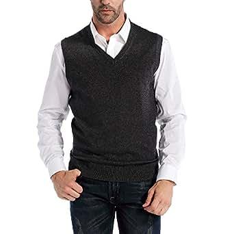 Kallspin Men's Cashmere Wool Blend Relax Fit Vest Knit V-Neck Sleeveless Pullover Sweater