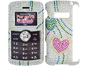 Hearts Silver Bling Rhinestone Diamond Pink Crystal Faceplate Hard Skin Case Cover for LG EnV 3 VX9200