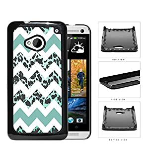 Teal White Chevron With Leopard Design Pattern Hard Plastic Snap On Cell Phone Case HTC One M7