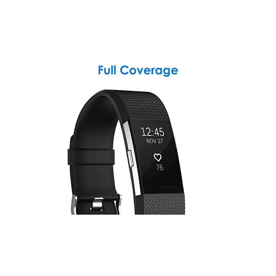 JETech Screen Protector for Fitbit Charge 2, Full Coverage, TPE Ultra HD Film, 6 Pack