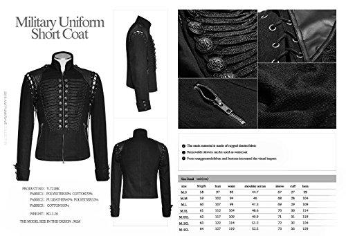 Herren Jenas Jacke oder Weste Punk Rave Gothic Jacket Militär Y-721