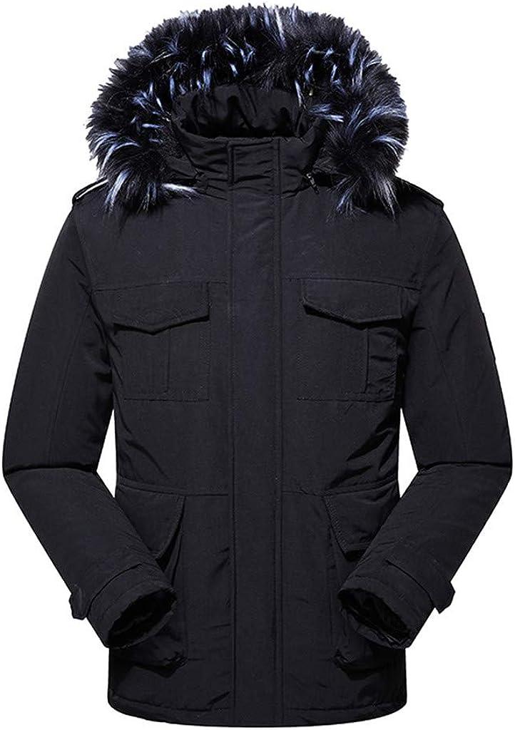 IZHH Men Parka Coat Slim Down Jacket Winter Outwear Overcoat Slim Puffer Quilted