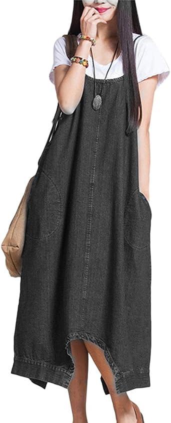 Mujer Chicas Vestido Peto Vaquero Monos Largo Pantalones Anchos ...