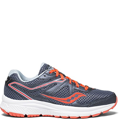 Saucony Women's Cohesion 11 Running Shoe, Grey/Red, 8.5 Medium US
