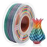 PLA 3D Printer Filament, Rainbow Multicolor PLA Filament 1.75mm 1KG (2.2LBS), PLA Rainbow