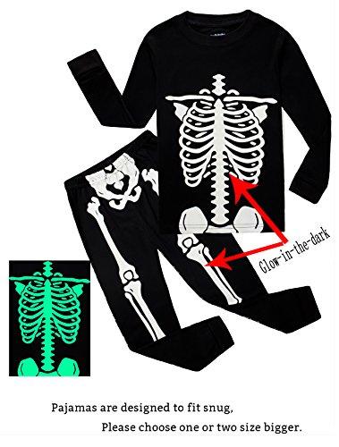Family Feeling Little Boys Girls Golw-in-The-Dark Skeleton Halloween Costumes Pajamas Sets Long Sleeve Kids Toddler Pjs Size 5