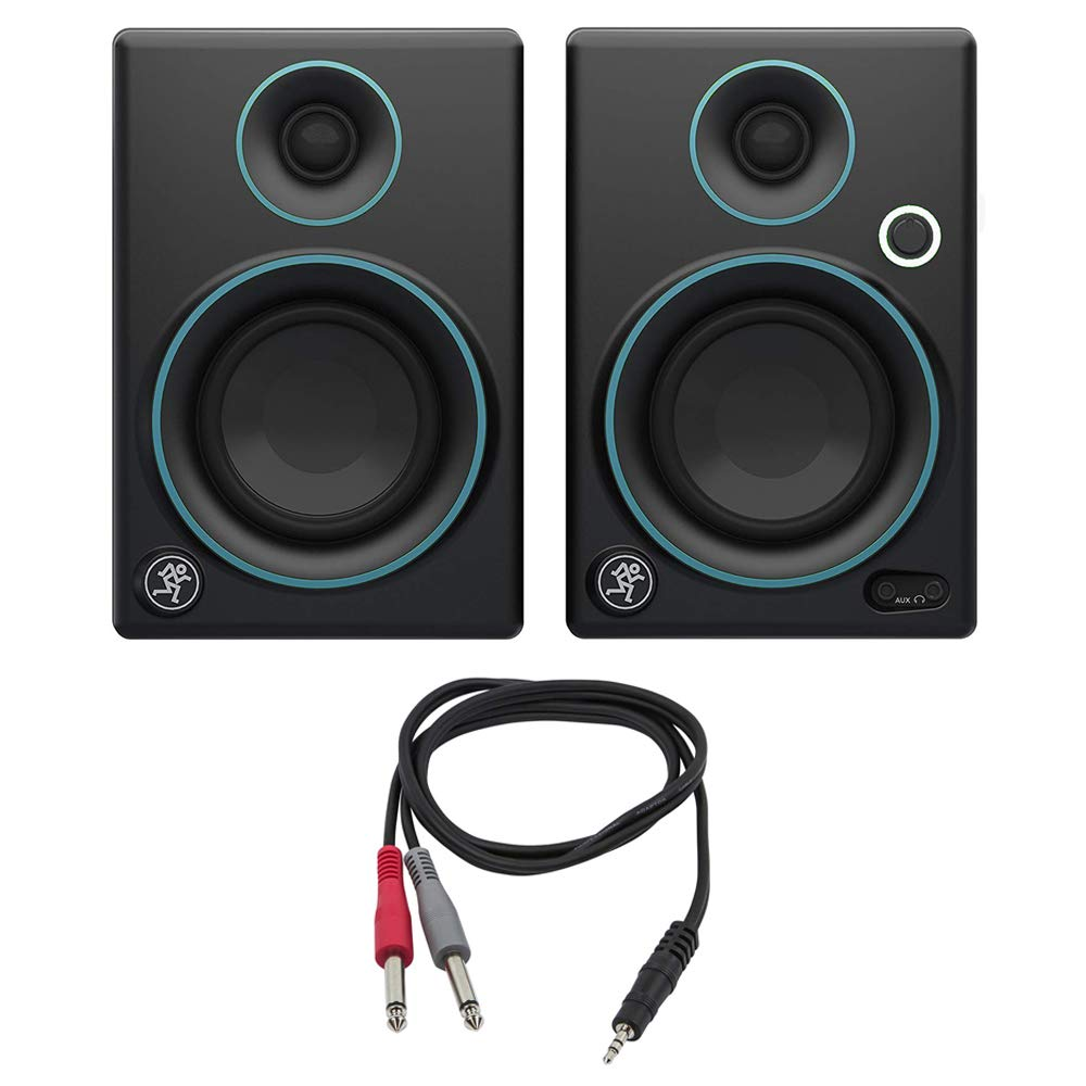 Mackie CR3 CR Series 3'' Creative Reference Multimedia Monitors (Pair) Custom Blue with Monoprice 1/8'' TRS Male to Two 1/4'' TS Male Cable, 3 Feet