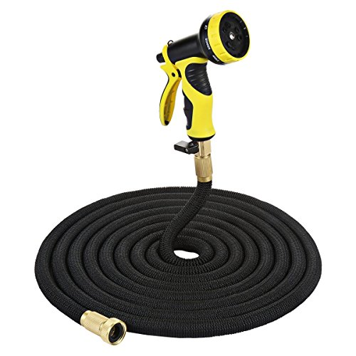 50FT Black Lightweight Expandable Solid Brass Valve Connector Garden Hose with 10 Pattern Spray Nozzle