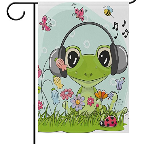 ALAZA Outdoor Decorative Flags - Animals Spring Summer Garden Flag - Cute Frog in Headphone Flowers Butterflies Ladybug House Banner Polyester Double-Side Yard Flag - 28 x 40 Inch