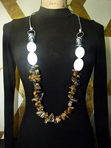 - extra long tigers eye beaded necklace , other of pearl beads , thick aluminum wire work
