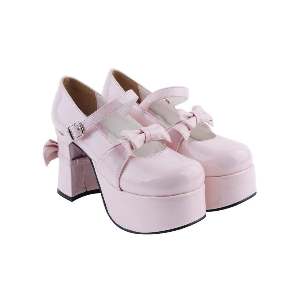 PINGXIANNV Schuhe Lolita Schuhe PINGXIANNV Dicke Fersen Schleifenkleid Schuhe 4c0d27