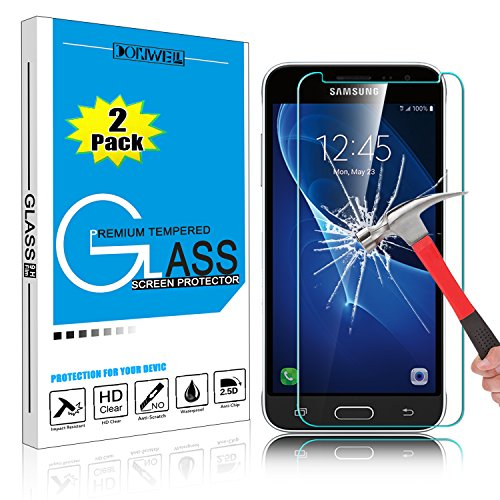 (2 Pack) Galaxy J3 Emerge Screen Protector, DONWELL Tempered Glass Screen Cover Anti-Shock Bubble Free for Samsung Galaxy J3 2017 / J3 Prime / J327P / SM-J327A