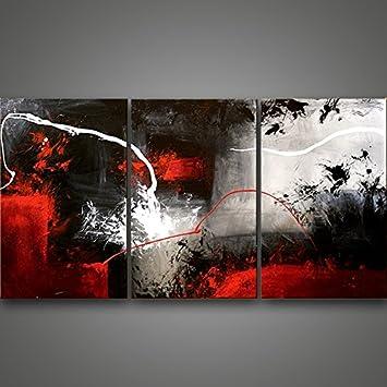 Peinte à La Main Original Peinture Du0027art Abstrait Noir Blanc Gris Rouge  épais Couteau