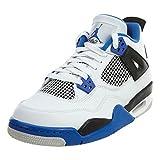 Air Jordan 4 Retro BG Motorsports lifestyle kids sneakers white/game royal-black NEW 408452-117 - 7