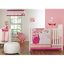 Happy Chic Baby Jonathan Adler Party Elephant 4 Piece Crib Bedding Set, Pink/Orange/White
