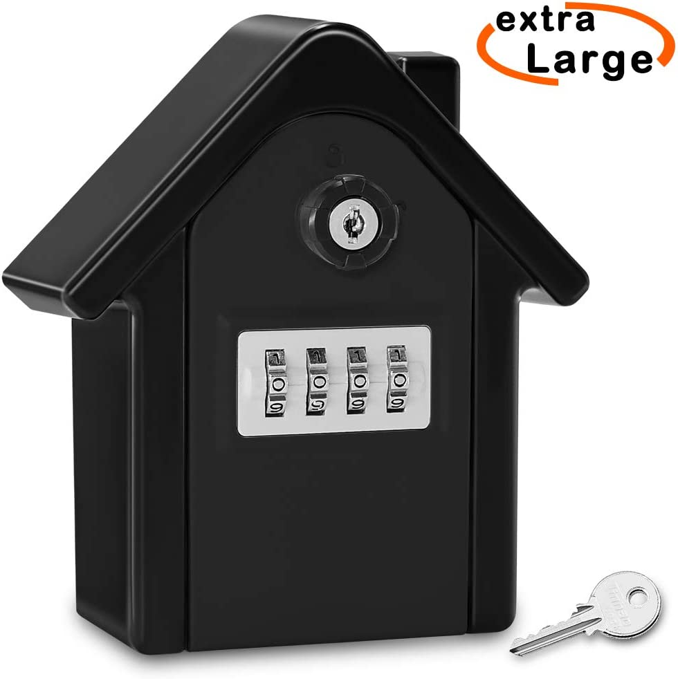 Key Lock Box Faneam Extra Large Key Safe Outdoor Large Capacity Key Box Wall Mounted Key Safe Box with 4 Digit Combination Lock /& Emergency Key for Indoor Outdoor Home Garage School Office Blue