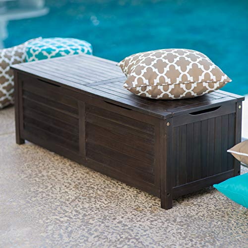 - Dark Brown Espresso Slatted Wood Patio Deck Box Storage for Cushions Pool Outdoor Items