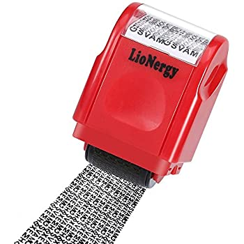 Identity Protection Roller Stamp LioNergy Wide Theft Prevention Security Red