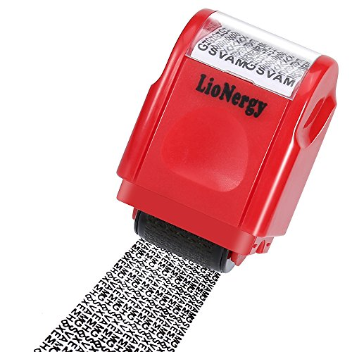 Identity Protection Roller Stamp LioNergy Wide Roller Identity Theft Prevention Security Stamp (Red Roller -