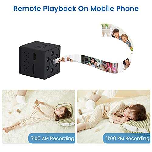 Spy Camera, CHARMINER 4K HD Hidden Camera, Mini Wireless Spy Cam, Small WiFi Nanny Camera with Phone App Night Vision Motion Detection Portable Smart Camera for Indoor/Home/Apartment/Office (Black)