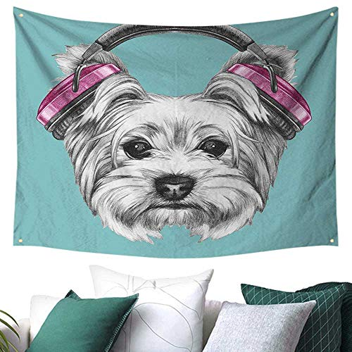 WilliamsDecor Yorkie Tapestry for Bedroom Dog with Headphones Music Listening Yorkshire Terrier Hand Drawn Caricature Home Decor Curtain 91W x 60L Inch Light Blue White