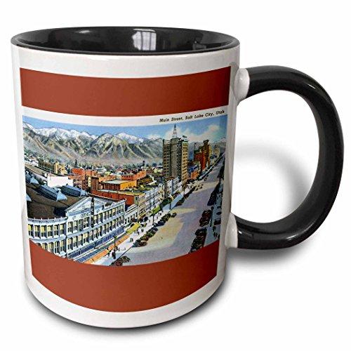 3dRose BLN Vintage US Cities and States Postcards - Main Street, Salt Lake City, Utah Aerial View of the City - 15oz Two-Tone Black Mug (mug_170754_9)
