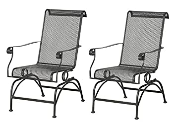 Marvelous Wrought Iron Coil Spring Patio Rocker Chair, The Set Of 2 Black Rocking  Chairs Are Great Patio Garden Furniture: Amazon.co.uk: Kitchen U0026 Home