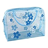 Transparent Flower Waterproof Travel Wash Cosmetic Bag Muranba (Blue)