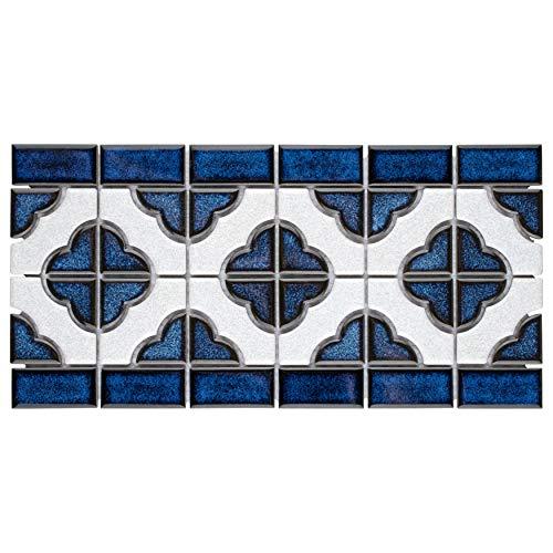"SomerTile FXLPALCB Castle Porcelain Mosaic Floor and Wall Tile, 5.75"" x 11.75"", Cobalt with White Border"