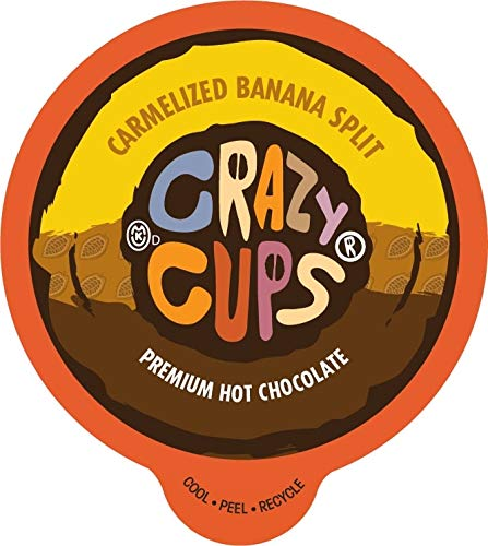 Crazy Cups Seasonal Hot Chocolate, Caramelized Banana Split Premium Hot Chocolate Hot Cocoa, Single Serve Cups for Keurig K-Cup Brewers, 22 Count