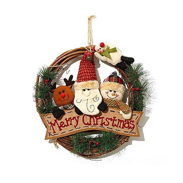 XONOR Corona di Natale per Porta d'ingresso, ghirlande Porta 35cm Natale Decorazione della Porta della casa Porta d'auto (Reindeer Snowman Santa Claus) 1 spesavip