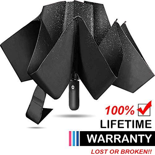 Reverse Automatic Open Close Folding Umbrella,Windproof Golf Car Travel Large Inverted Compact Portable Sun&Rain UV Ultraviolet-proof Umbrella For Men Women,46 Inch (Black) …