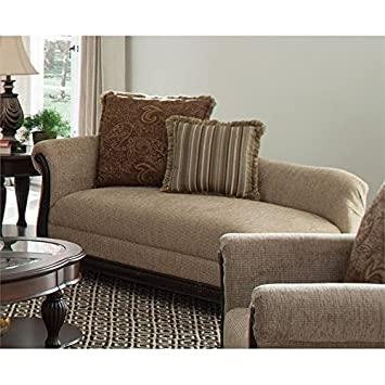 Coaster Beasley 550037 61 Chaise with Accent Pillows Reversible Memory Foam Seat Cushions Single Rolled Arm Wood