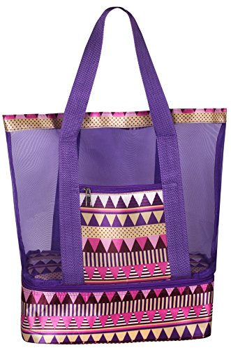 Mesh Beach Tote Bag with Insulated Picnic Cooler Compartment (Purple)